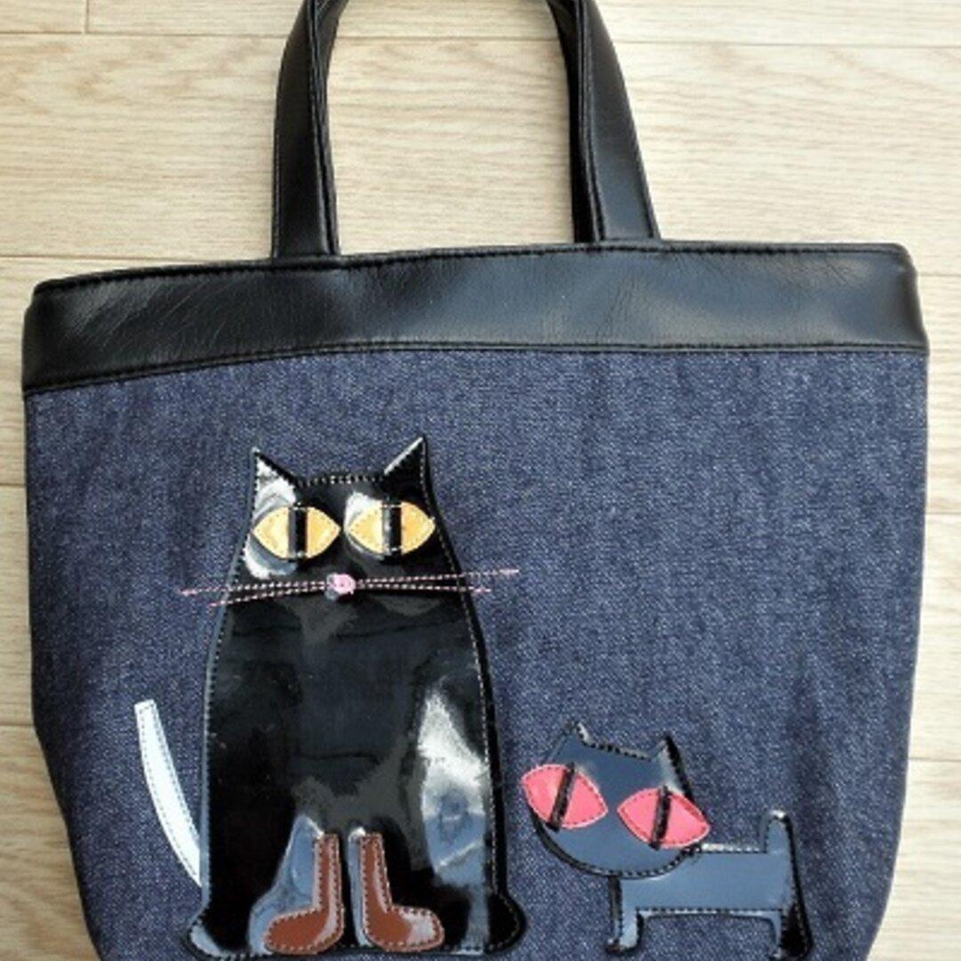 秋の新作【送料無料】トートバッグ 小さめ ファスナー付き デニム 親子猫 猫 グッズ 雑貨