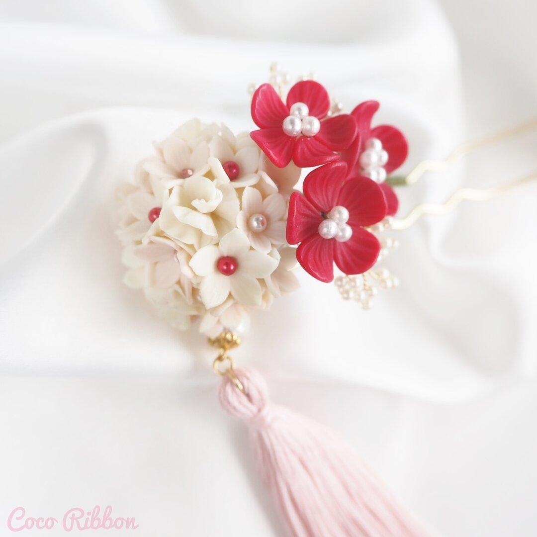 小花とタッセルの和風かんざし♡ 赤*ピンク*七五三*結婚式*成人式*着物*和装*和小物*浴衣