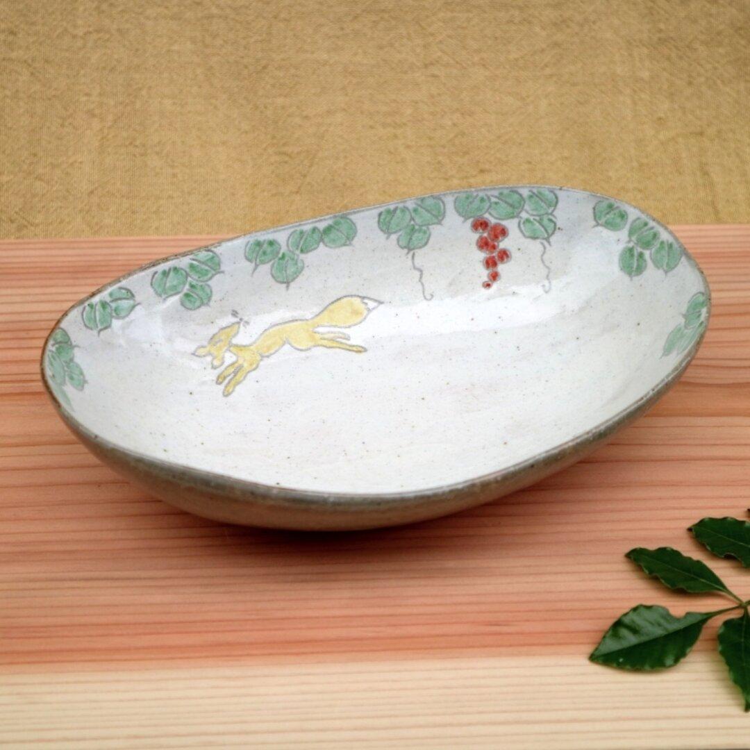 灰釉キツネ絵カレー皿