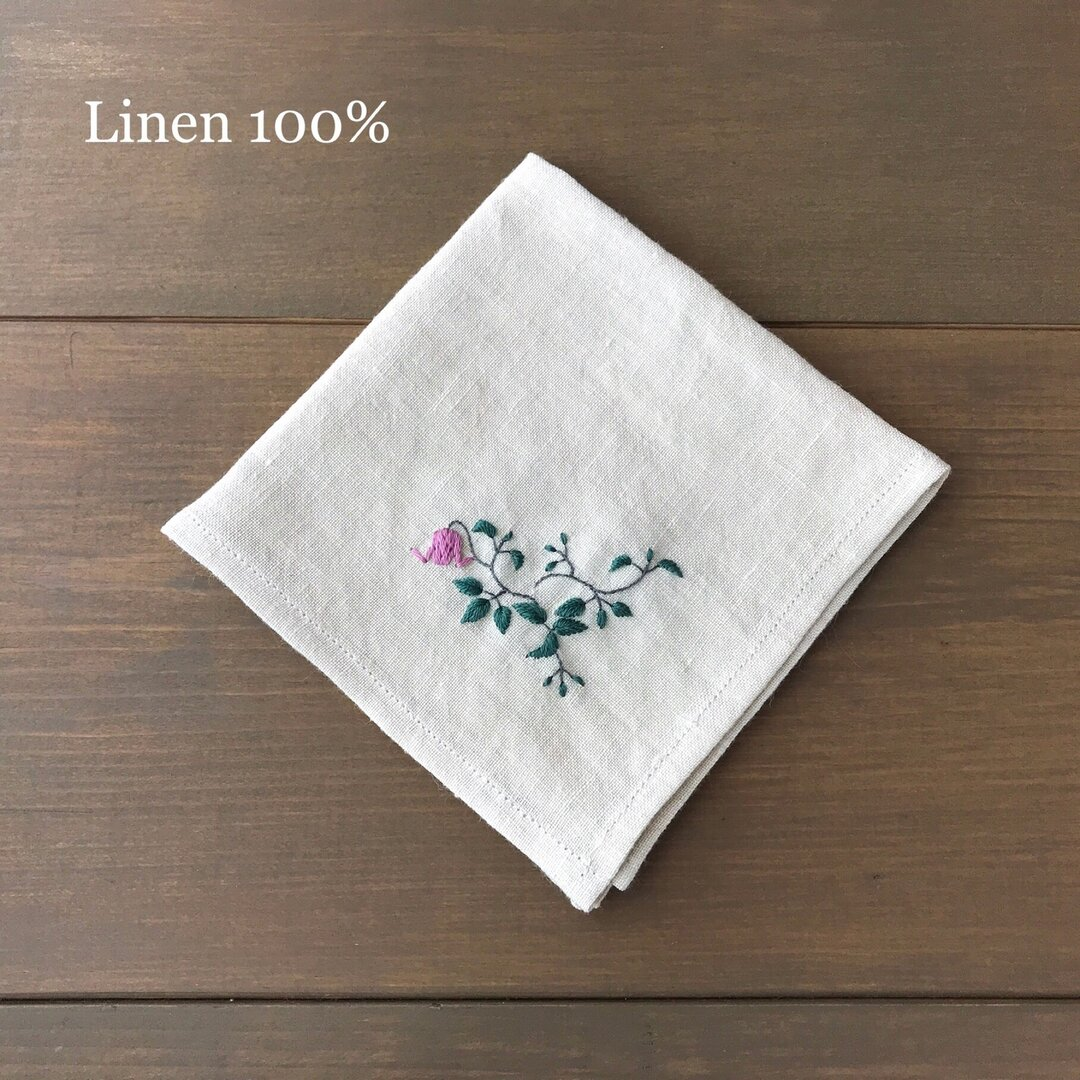 とろとろリネンの刺繍ハンカチ/ピンクのクレマチス