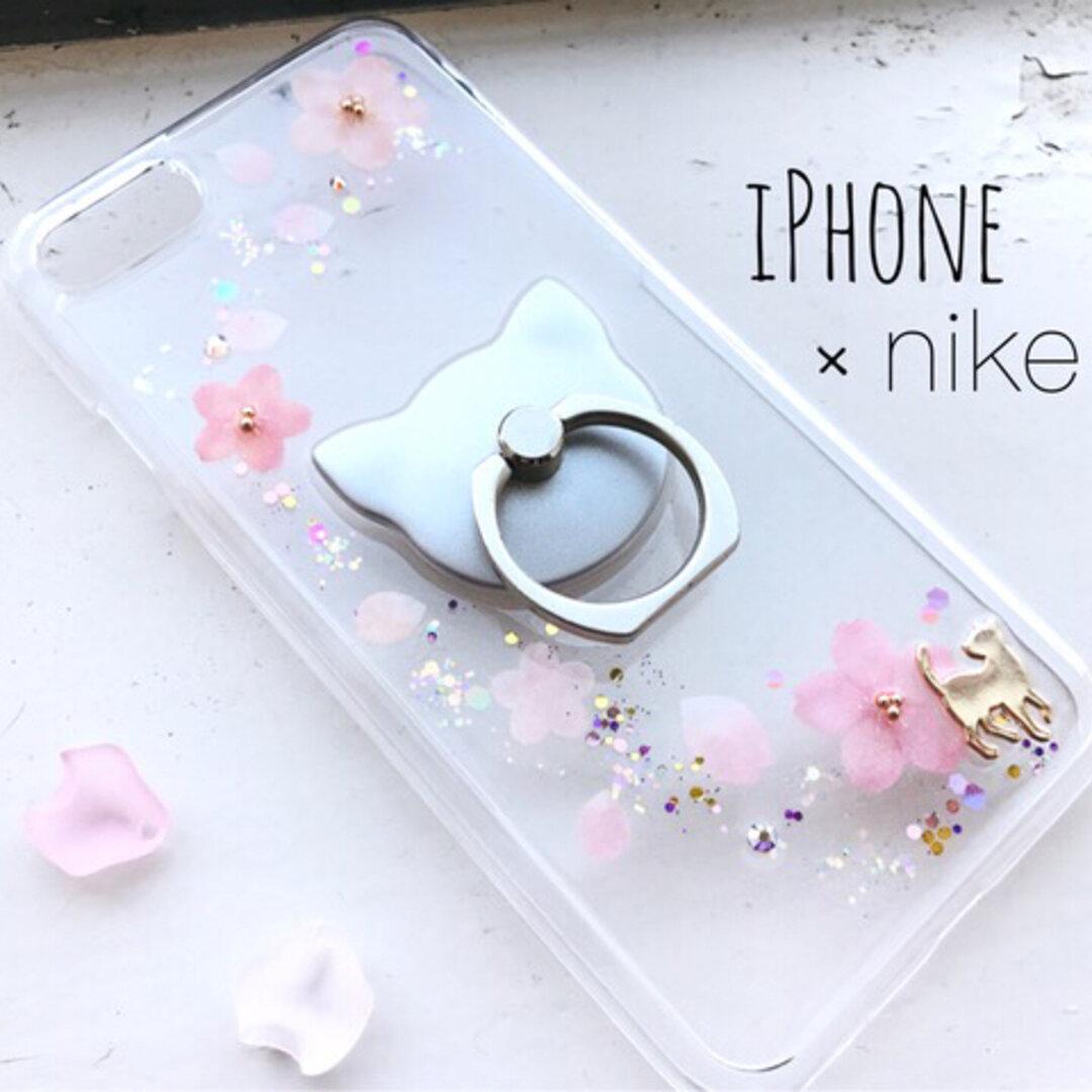 *Spring Night*~桜舞う iPhoneケース iPhone12 7/8/6/X/7plus/SE ねこ 押し花風 春 猫 スマホケース