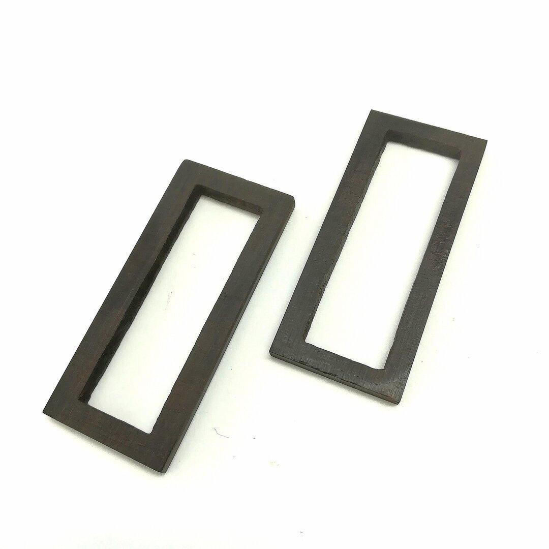 ウッドレジンパーツ 長方形 2個 (厚み3mm) レジン 空枠  UVレジン レジン枠 ミール皿