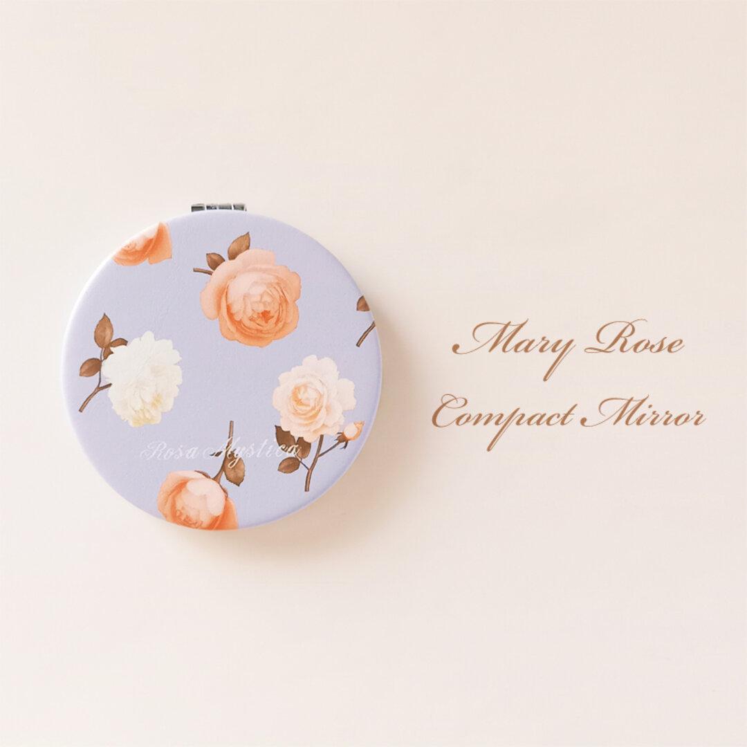 【特集掲載】コンパクトミラー Mary Rose ブルー&ピンク 花 ローズ バラ 手鏡 折り畳み 拡大鏡