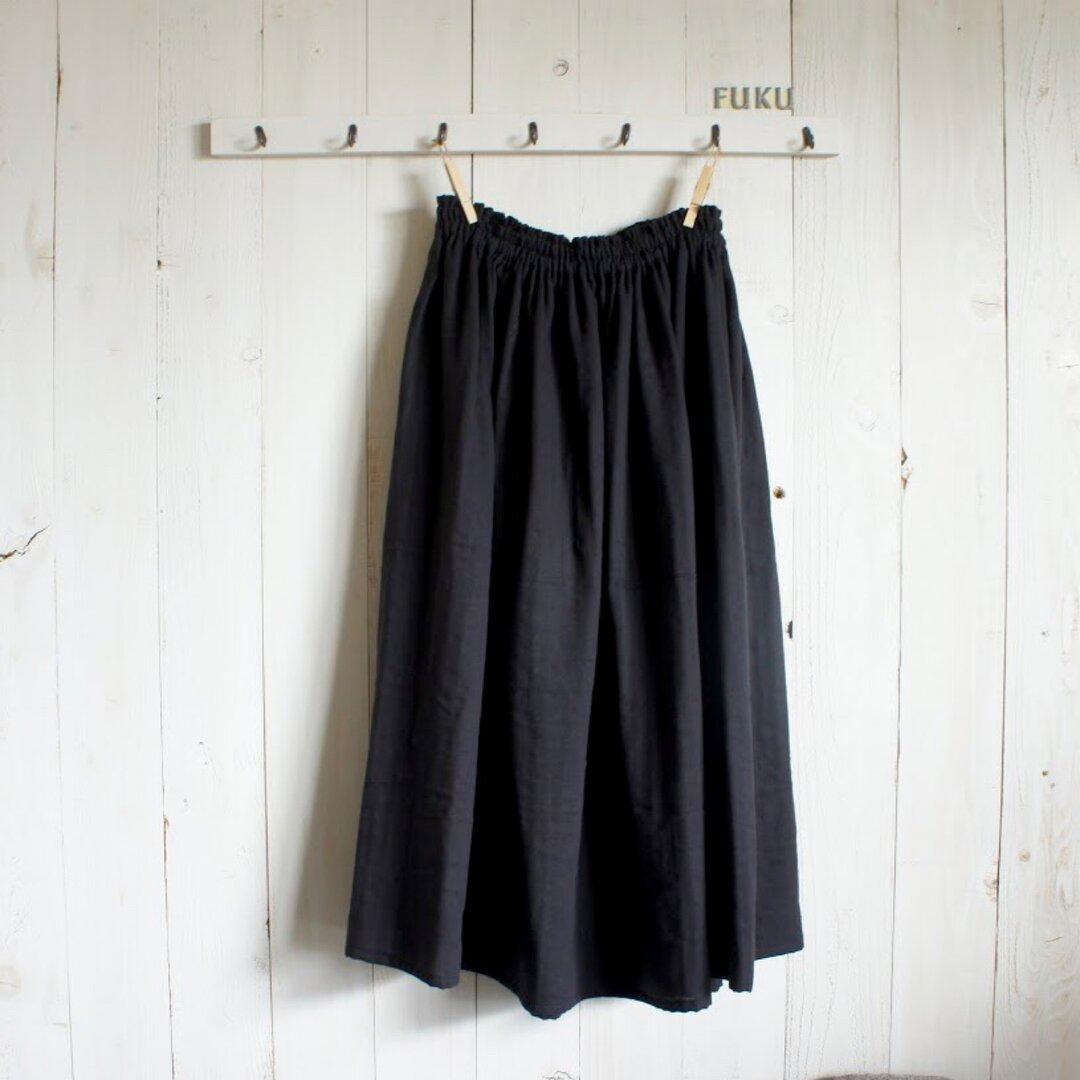 大人ブラックのダブルガーゼギャザースカート【基本丈72cm】