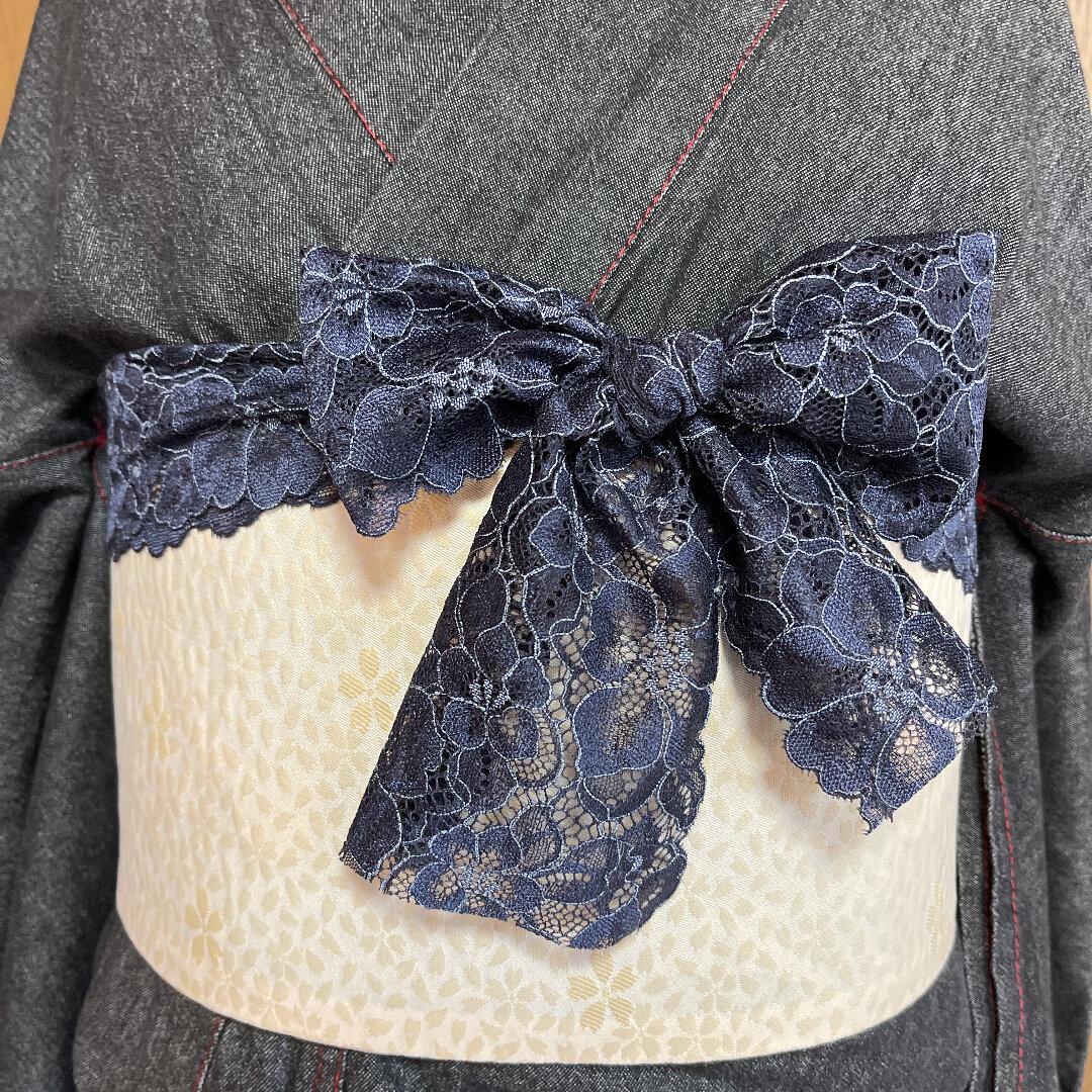 ネイビーレース帯揚げ 帯飾り 衿飾り半襟