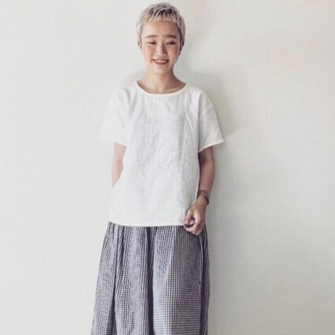 【ダブルガーゼブラウス】ふわふわコットンダブルガーゼのシンプルなブラウス Tシャツ トップス ホワイト
