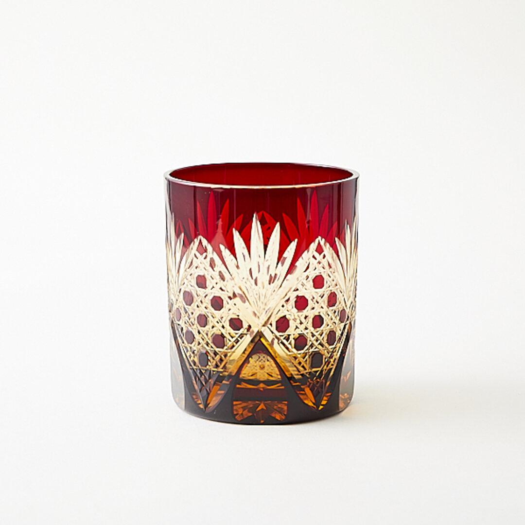 江戸切子 伝統工芸品 送料無料 無料包装 結婚祝 海外土産 記念品 還暦祝 古希祝 結婚祝 琥珀色赤被せ ロックグラス (籠目模様)ウィスキーグラス 焼酎グラス