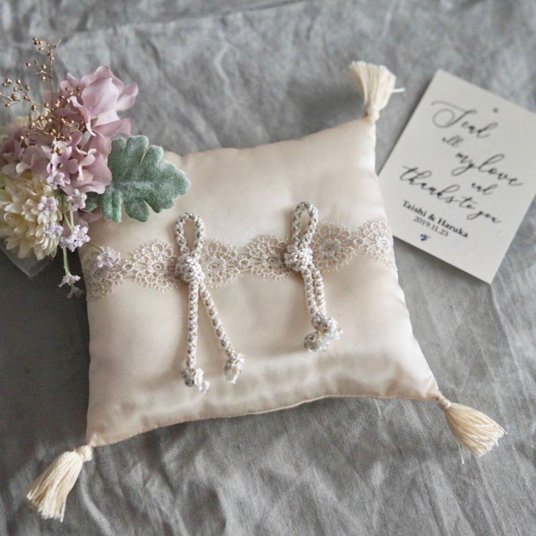 ring pillow くすみカラーのコサージュとリングピロー 和 ウェディング 和婚 フラワー