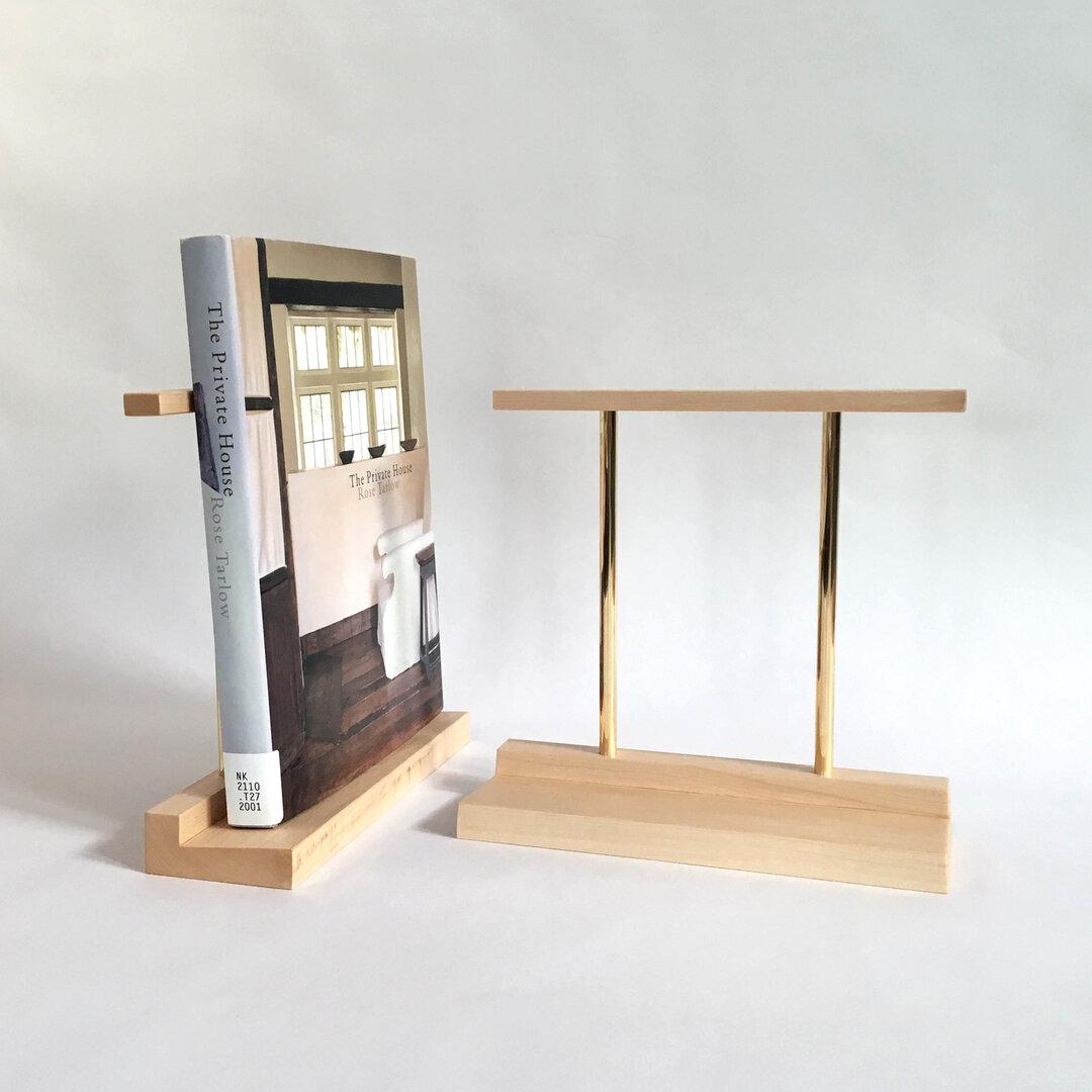 ブックエンド(木と真鍮、本立て)