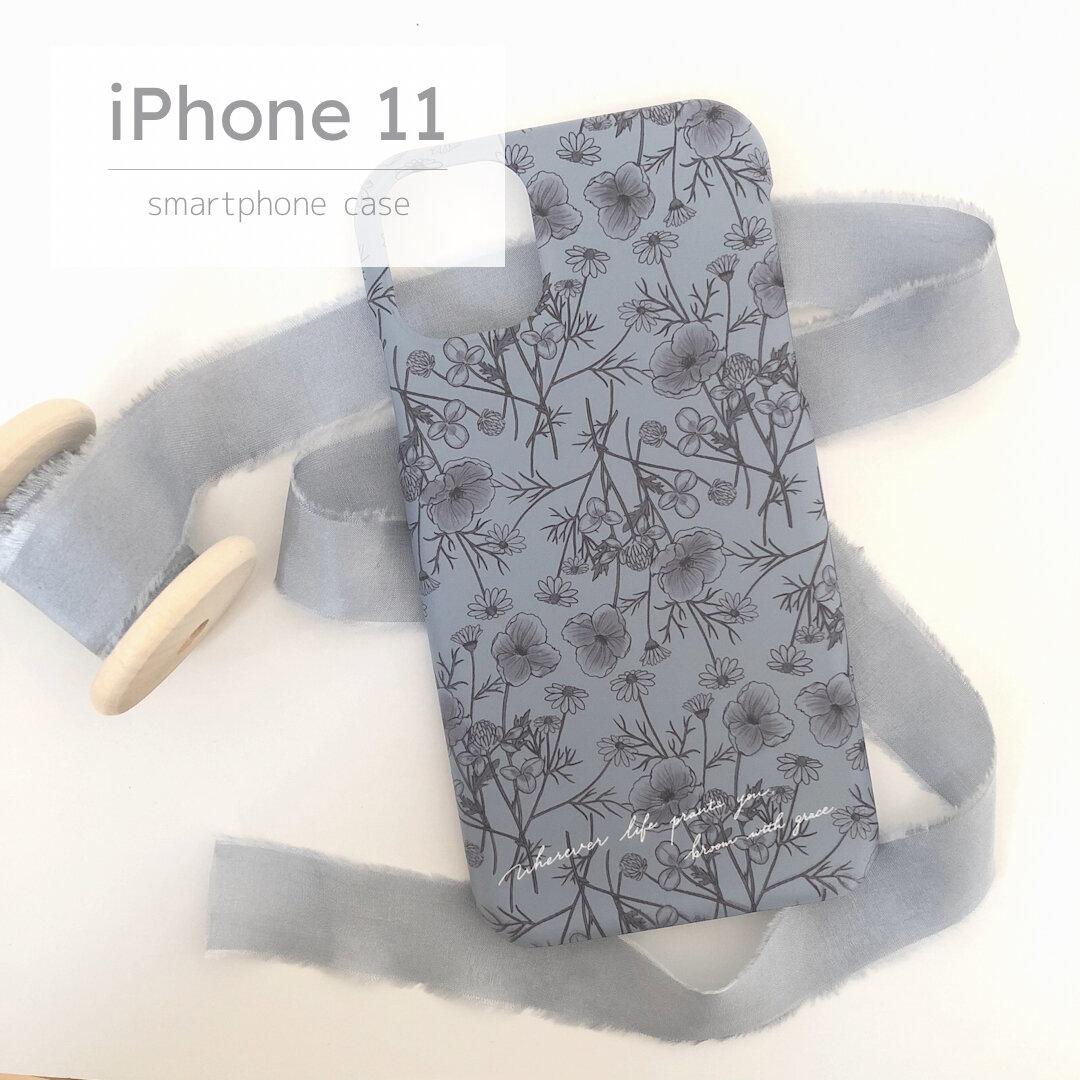 Phone11用ハードケース ワイルドフラワー×ブルーグレー