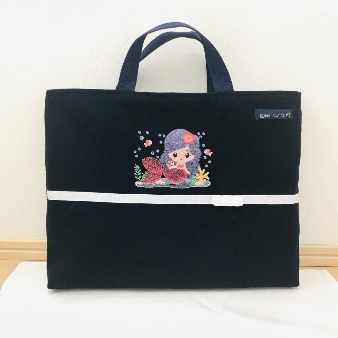 刺繍のレッスンバッグ 女の子 入園入学 ハンドメイド🌸