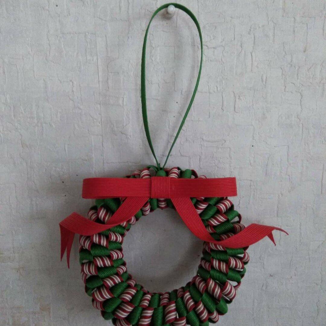 クリスマスリース リボン赤