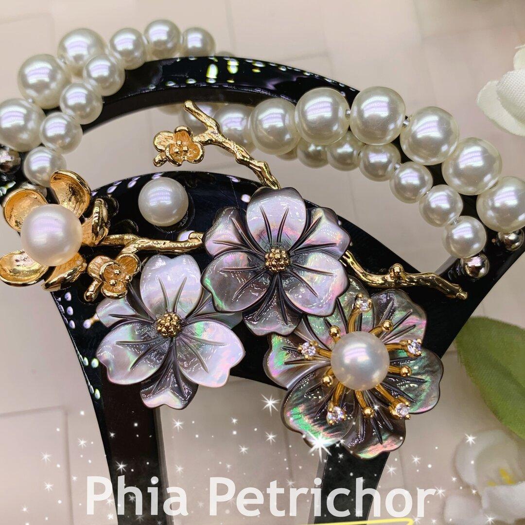 簪 蝶貝 桜 かんざし バチ型  パール 簪 髪飾り 留袖 着物 成人式 結婚式  ヘアピン ヘアアクセサリー