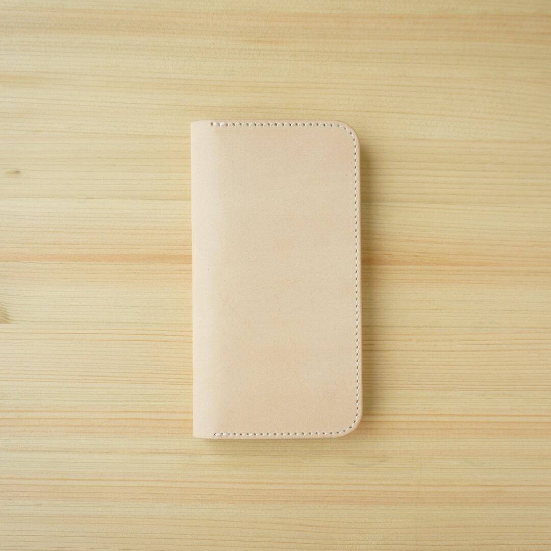 牛革 iPhone12 mini カバー  ヌメ革  レザーケース  手帳型  ナチュラルカラー