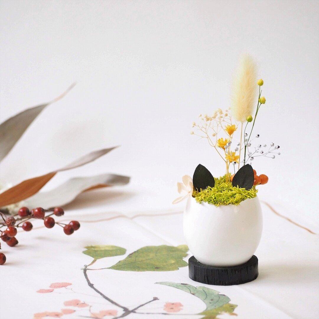 花の猫型盆栽『タマゴノコネコ』(明るい黄色・オレンジ)