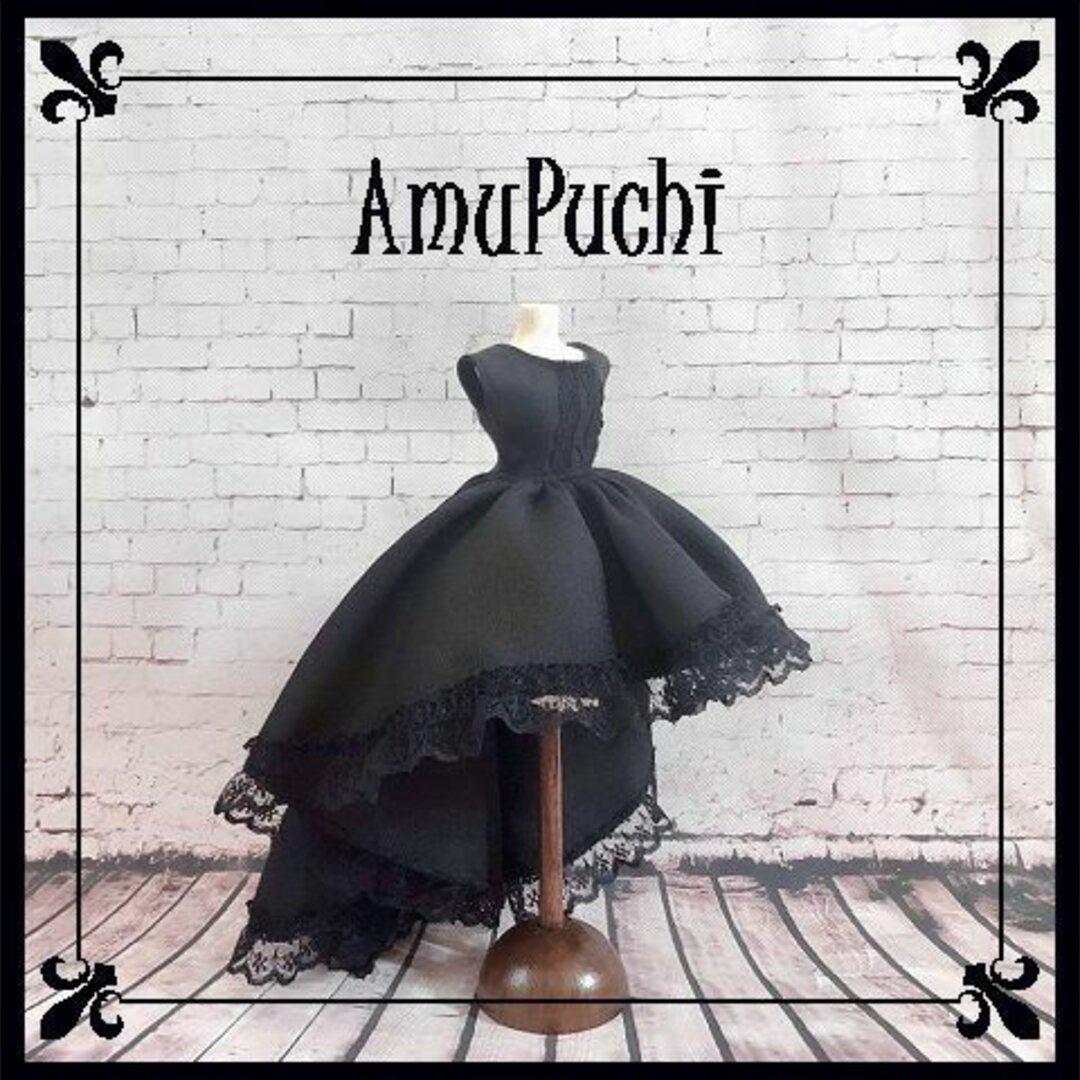 トレーン風フィッシュテールのゴシック風ロングドレス-ブラック-