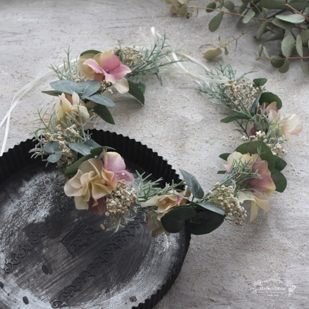 花冠*アジサイとシャビーシックかすみ草のハーベスト花冠