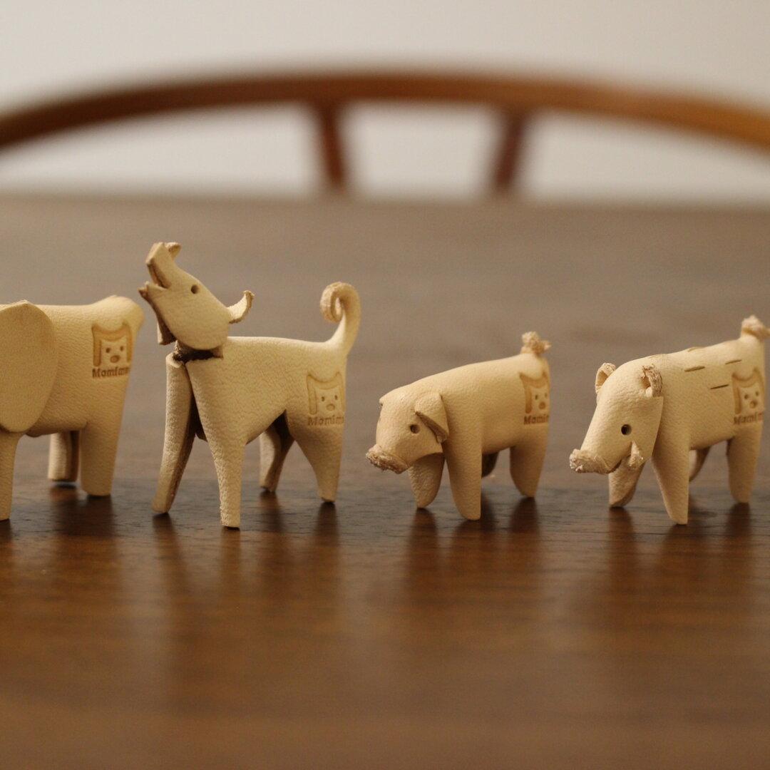 【手作りキット】【5種セット】 自分で作る革製インテリア雑貨 ぶた、いぬ、ぞう、いのしし、ぺんぎん