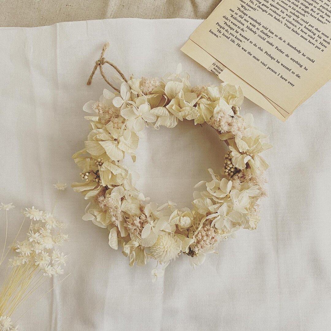 プリザーブドフラワー*紫陽花リース ホワイトベージュ*