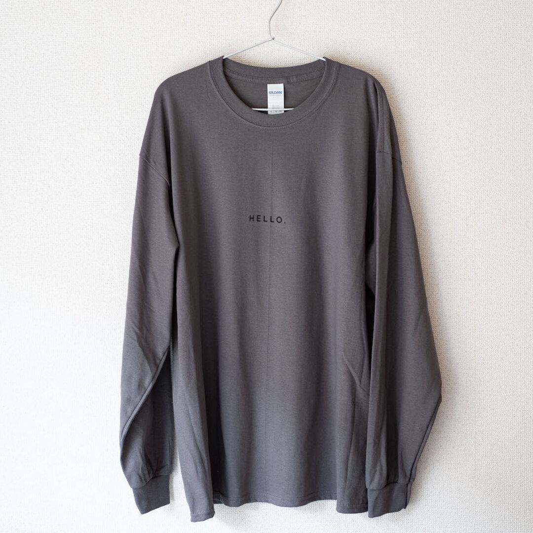 ビッグロングTシャツ「HELLO.」/チャコール