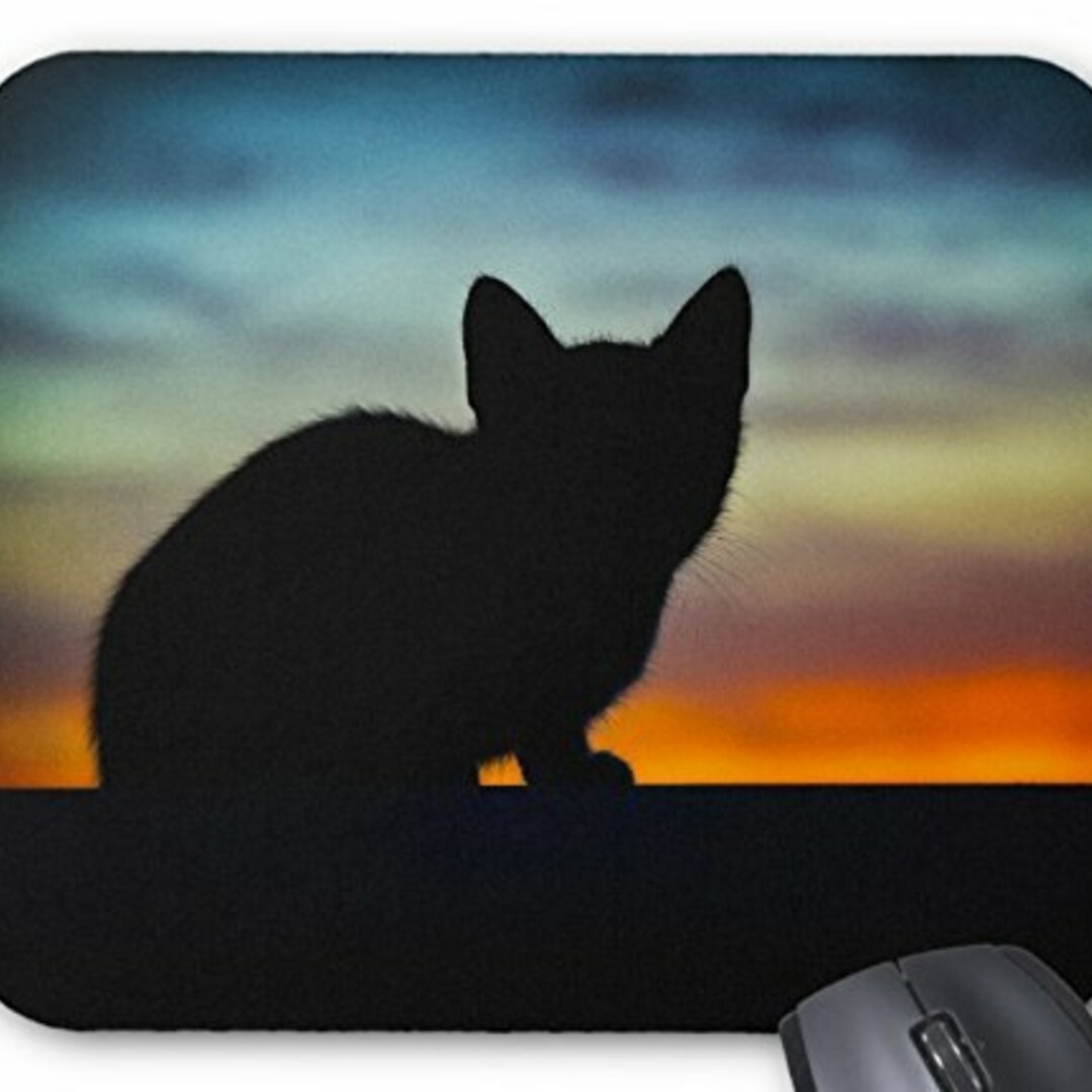 子猫のシルエットのマウスパッド:フォトパッド(世界の猫シリーズ)