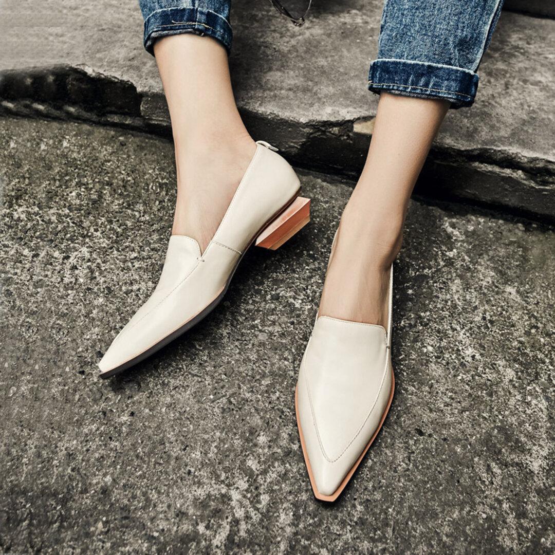 ★21秋冬新作★牛革 柔らかく シンプルなパンプス  本革靴レディース 3color 22cm-25cm 3色