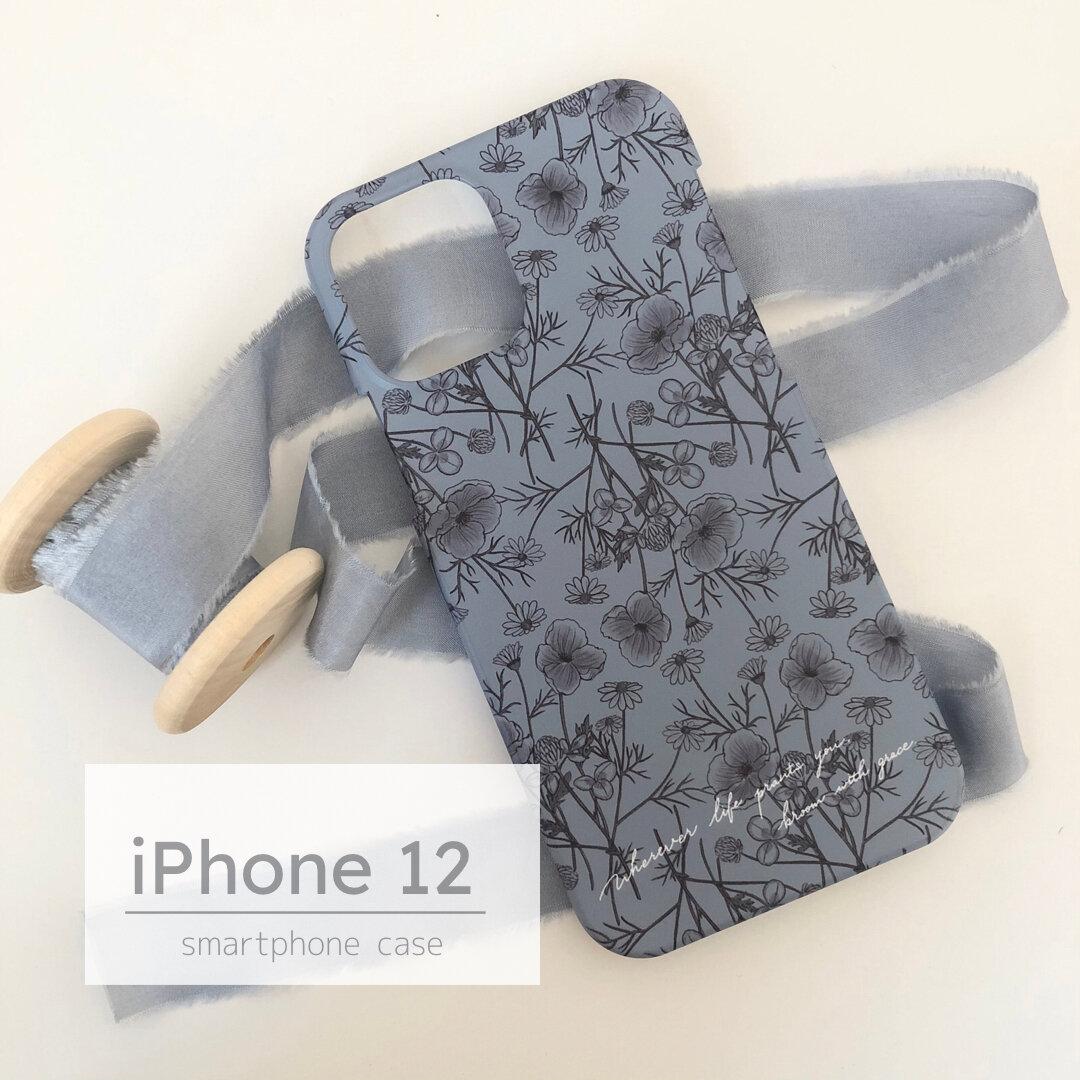 Phone12用ハードケース ワイルドフラワー×ブルーグレー