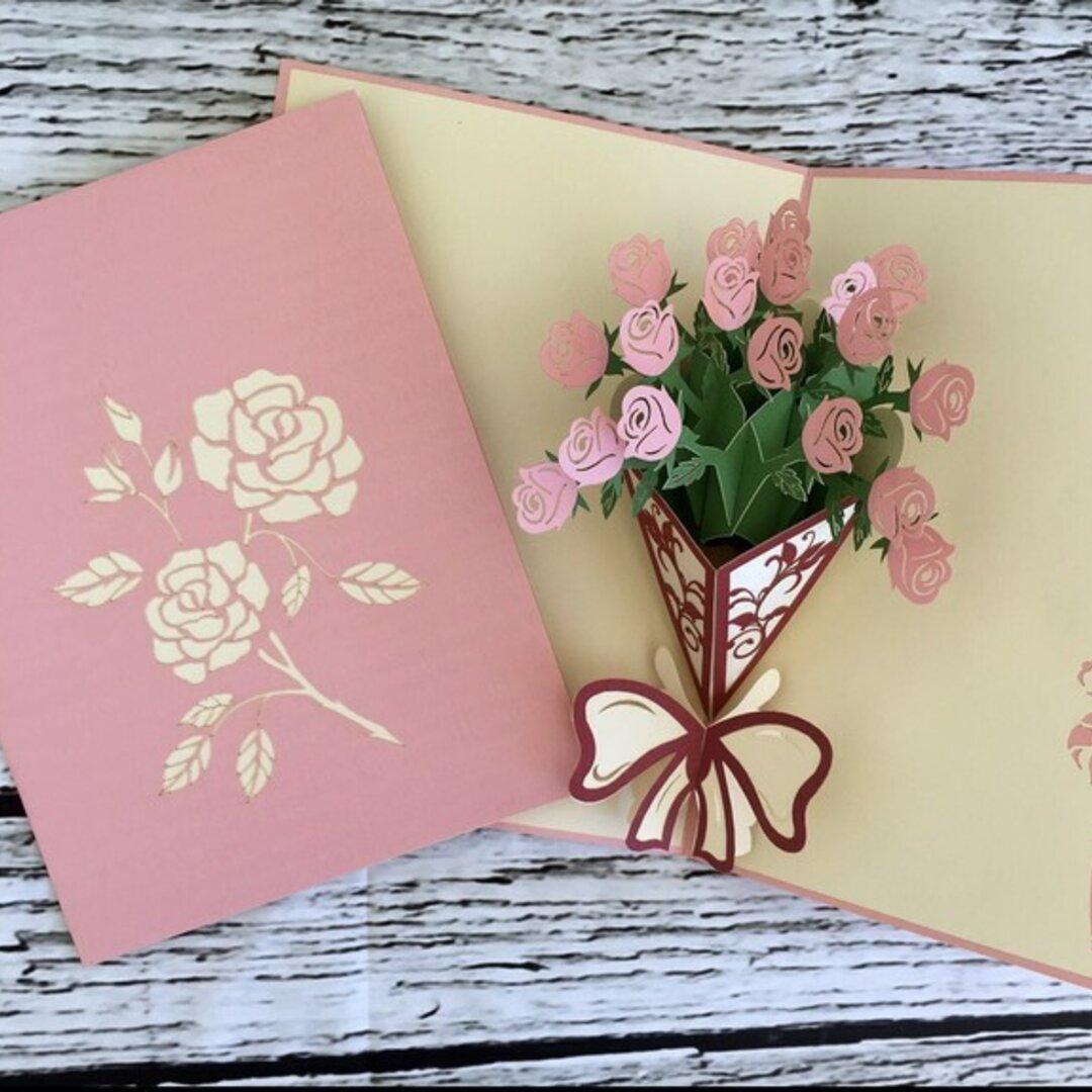 可愛い! 手作り切り紙ポップアップメッセージカードピンクローズ 花束 バラブティックナチュラル