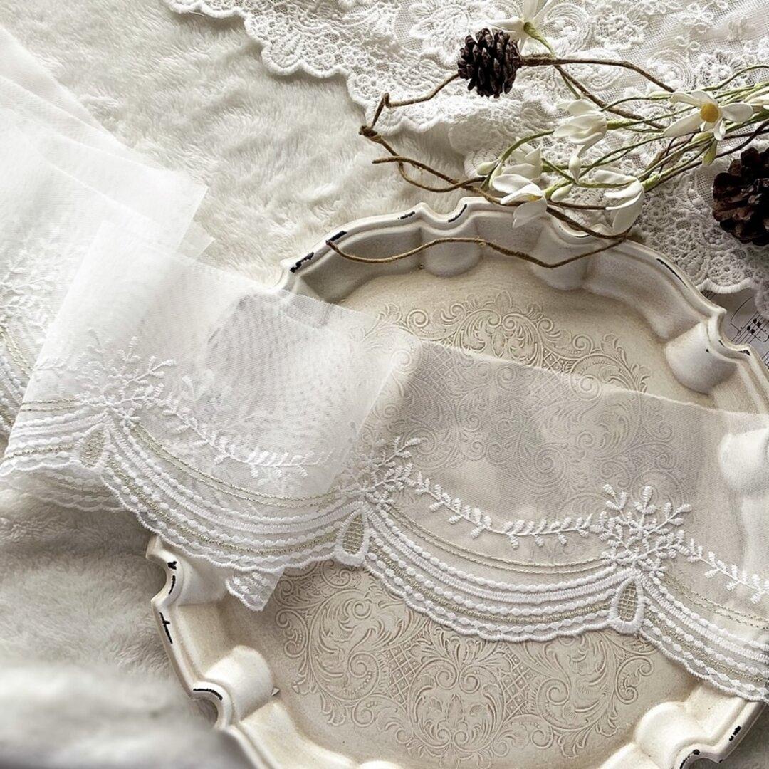 1m 金糸いり 美しい 花 フラワー刺繍 チュールレース 白 BK210730 ハンドメイド 手芸 素材 材料