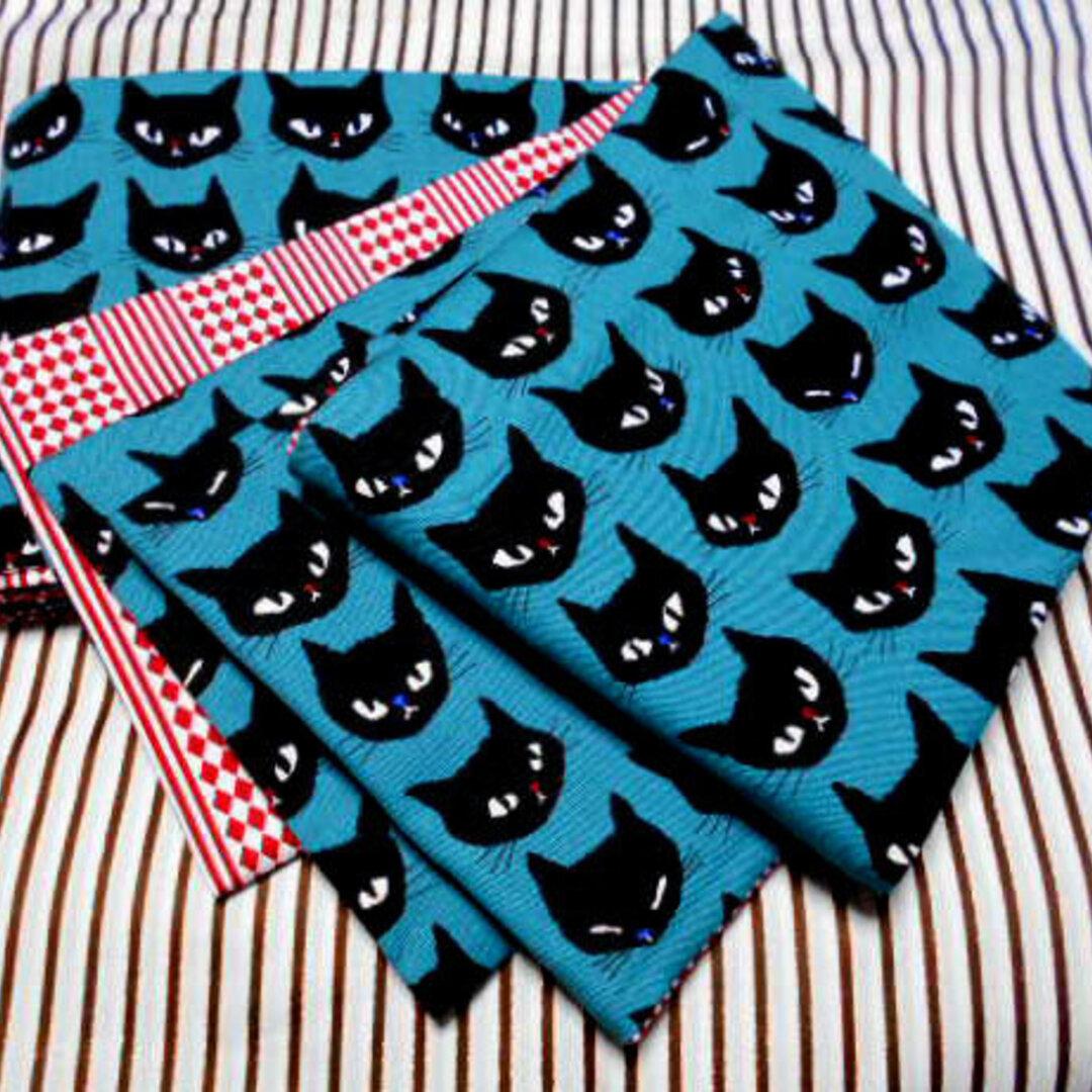 ●お羊屋黒猫柄半幅帯新品リバ長尺