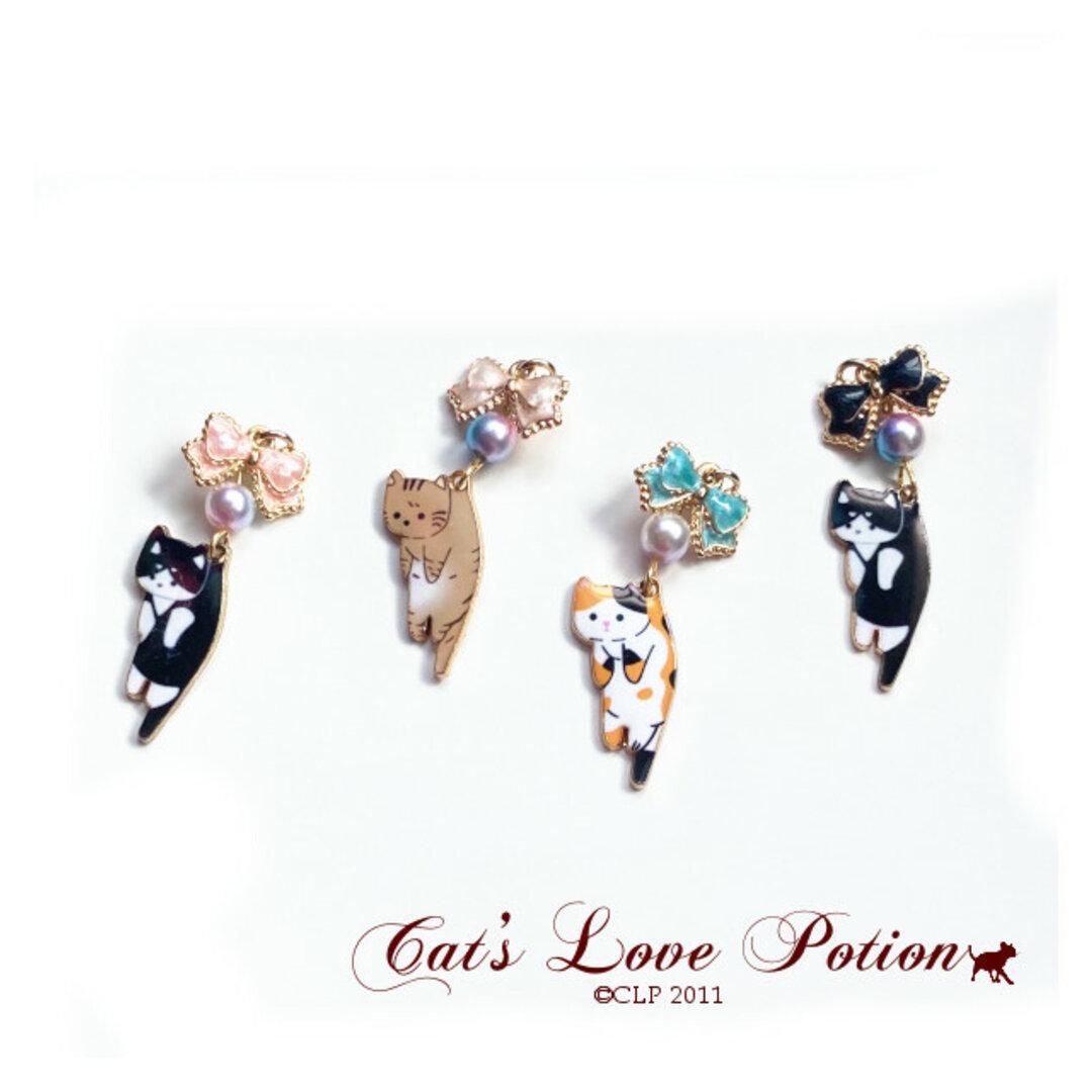 猫 イヤホンジャック はこばれ ねこ りぼん ぱーる ストラップ iphone コネクタカバー Cat's Love Potion