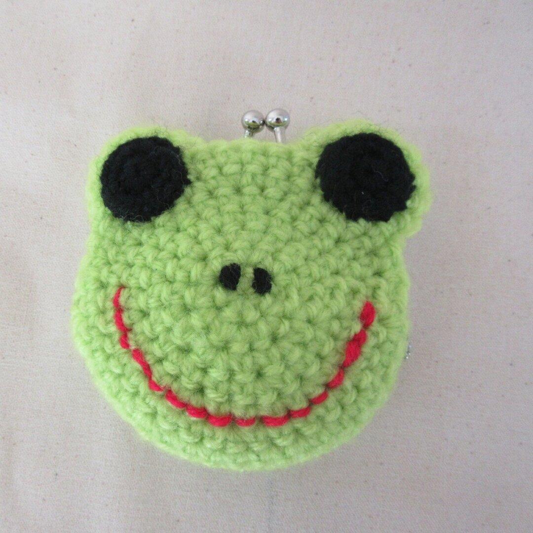 かえるの編み編みがまぐち