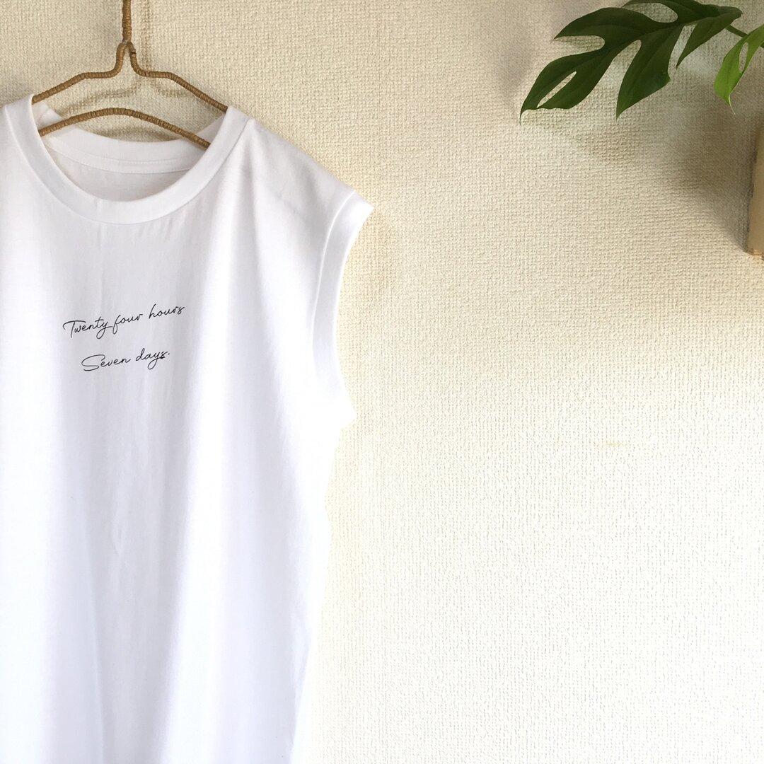 ノースリーブ レディースTシャツ《ホワイト》トップス  白tシャツ 春 夏 インナー