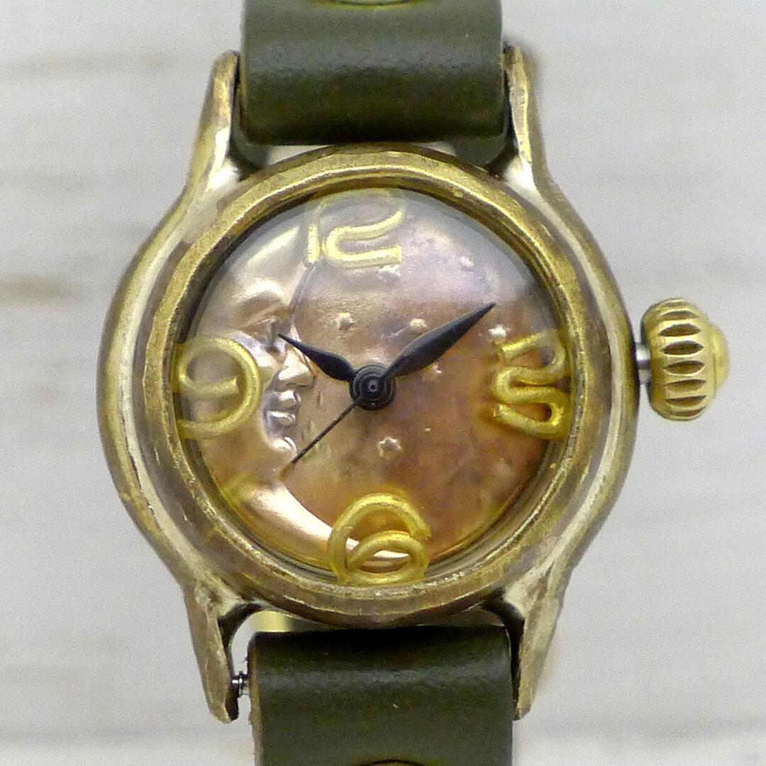 """手作り腕時計 """"CrescentMoon-LB"""" 22mmBrass(真鍮) 三日月文字盤  [305B-CM]"""