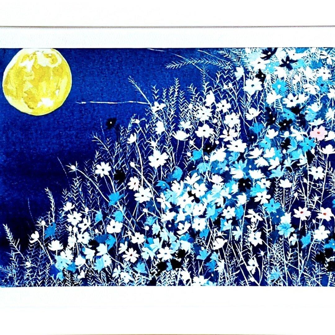 野の花と満月(原画)