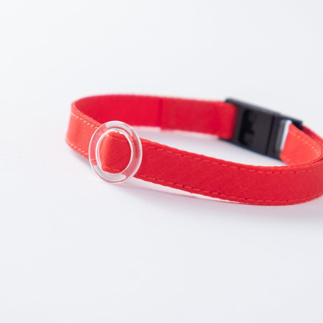 【猫にやさしい布首輪】トマトレッド|軽量3g|やわらか|安全|ペットシッター考案