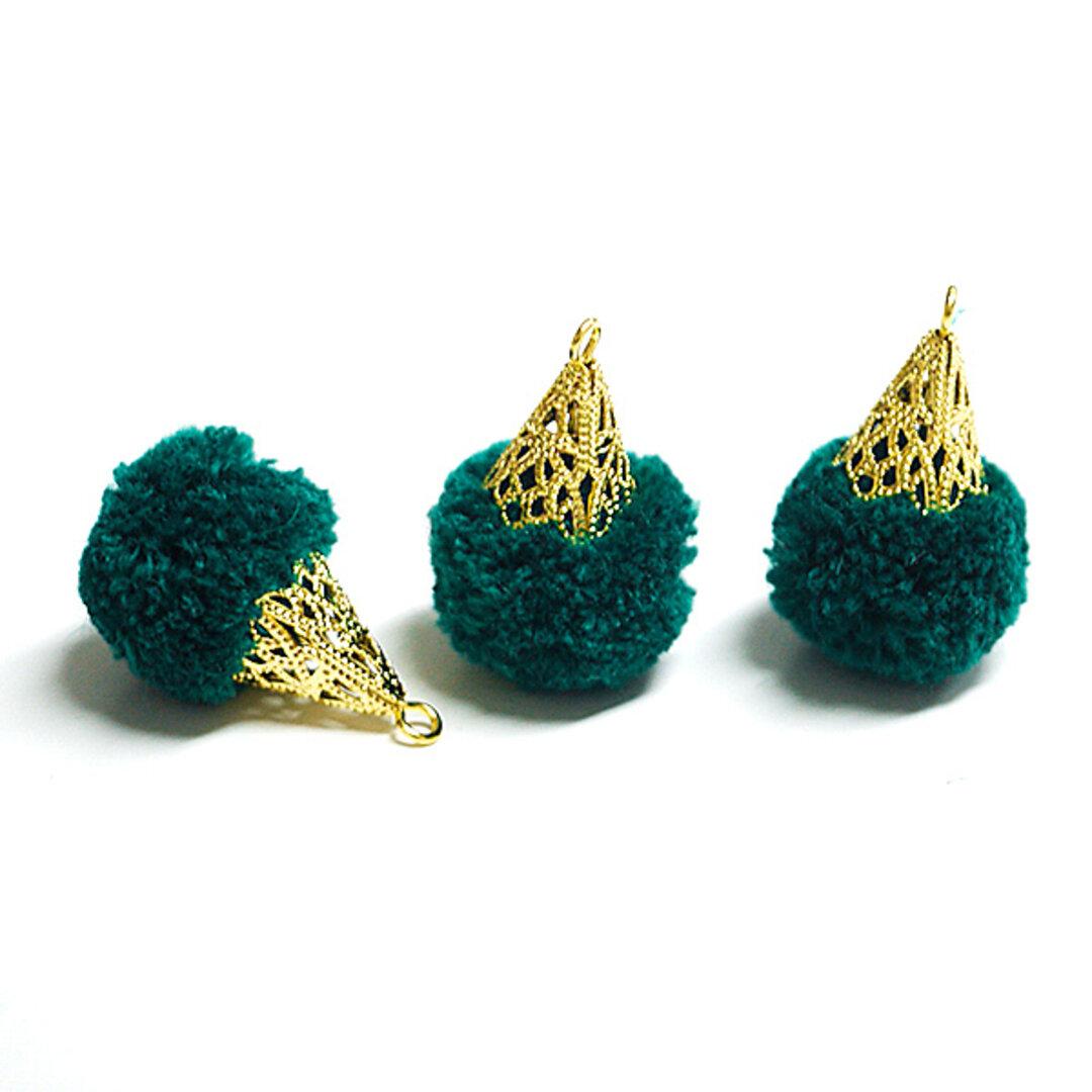 SALE【6個入り】約17mm毛糸(ウール100%)グリーンカラーボンボンアンチックキャップチャーム、パーツ
