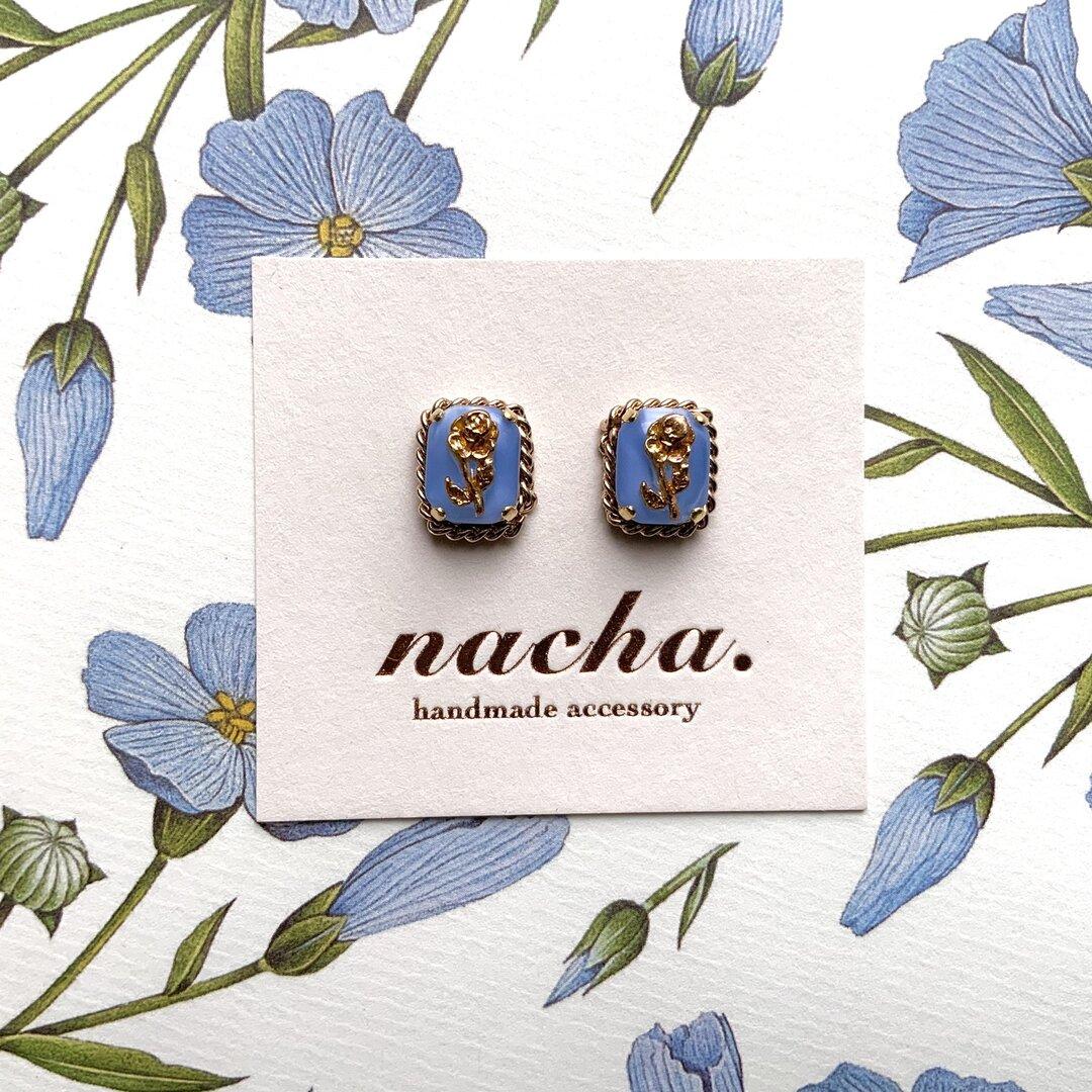 ice blue block pierce / earring