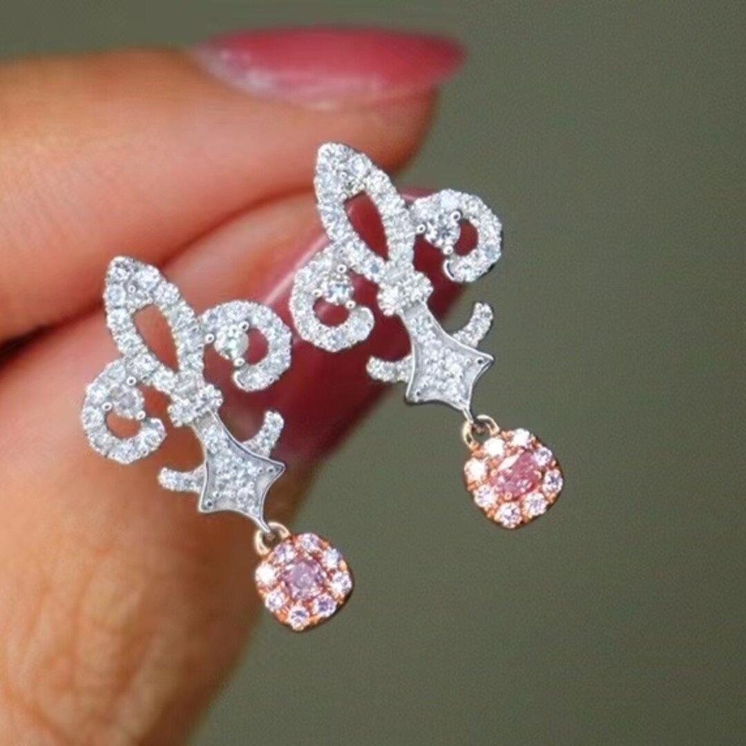 天然ピンクダイヤモンドピアス0.464ct k18