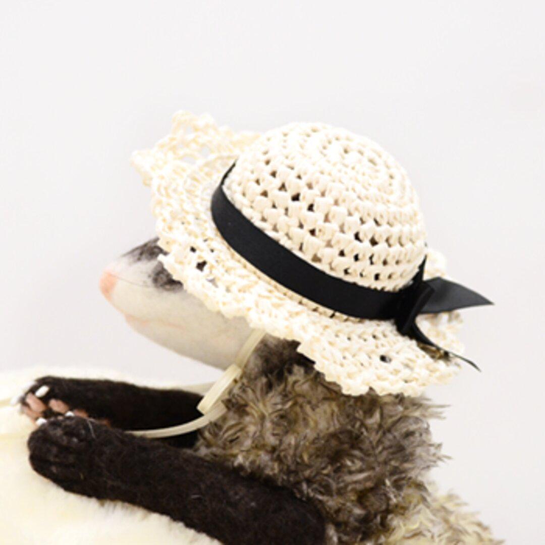 麦わら帽子 エレガントリボン アイボリー
