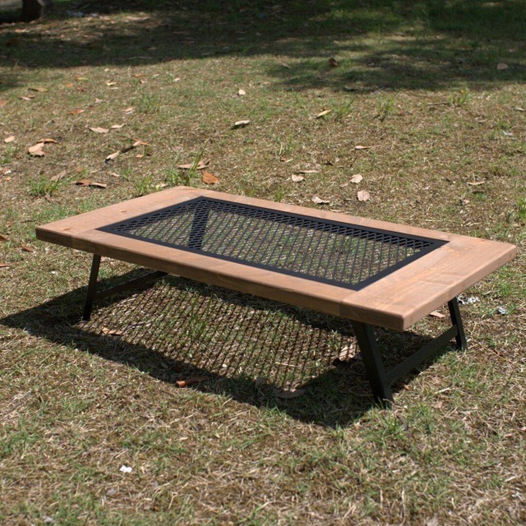 折りたたみメッシュ x ウッド ローテーブル アウトドア キャンプ