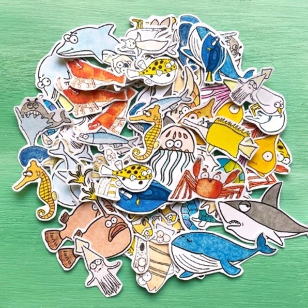 シール フレークシール 海の生き物 可愛い