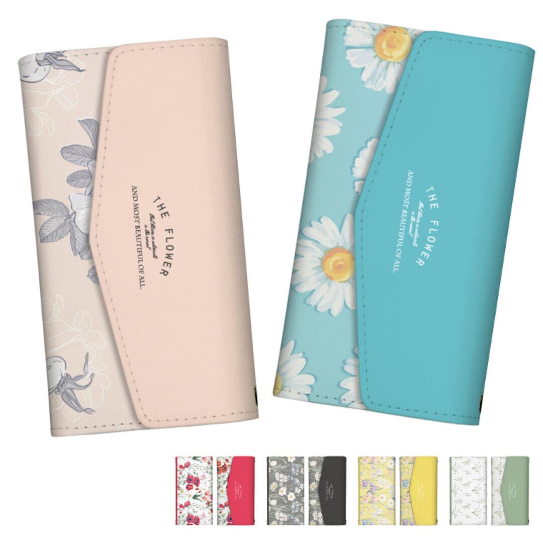 スマホケース 全機種対応 手帳型 三つ折り レター型  iPhone Xpeira Galaxy AQUOS HUAWEI 花柄 Flower フラワー 花 ボタニカル トレンド かわいい