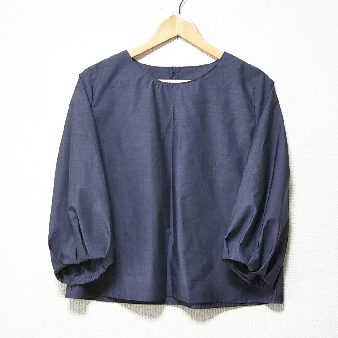 濃紫☆綿☆バルーン袖☆七分袖☆プルオーバー