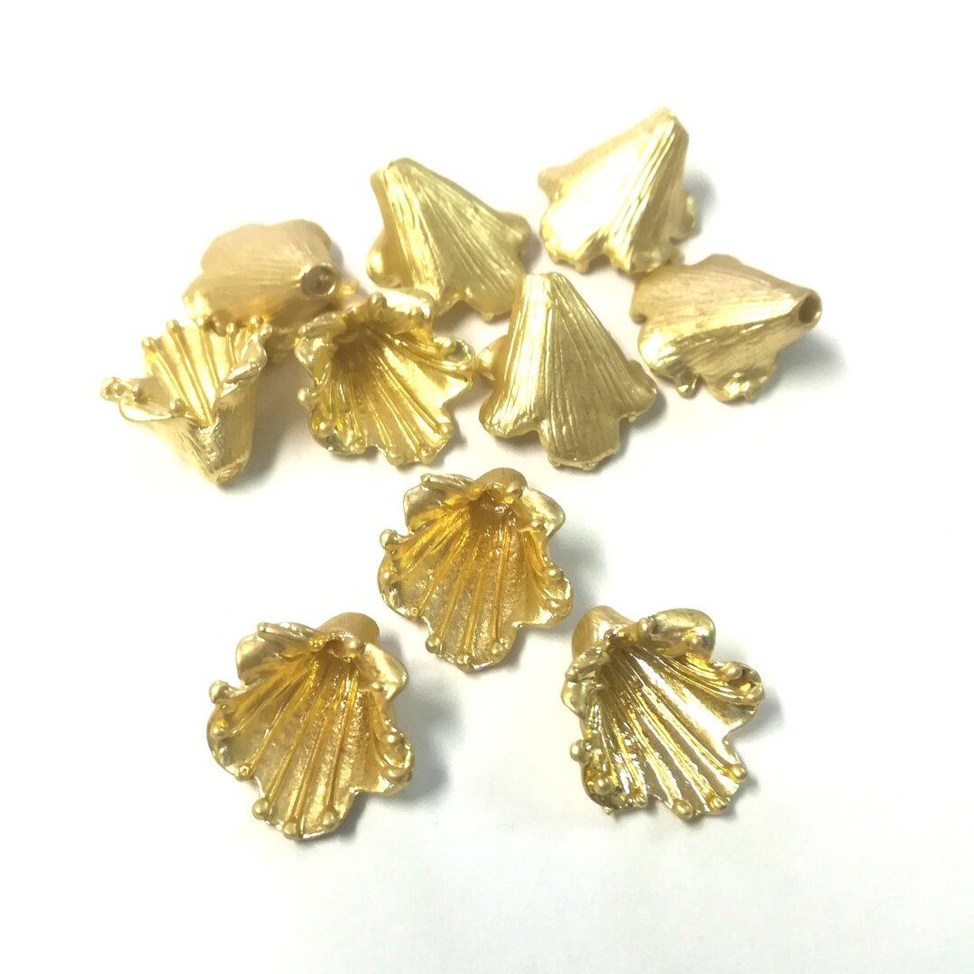ビーズキャップ フラワー (マットゴールド Bタイプ) 10個  花座 アクセサリー パーツ