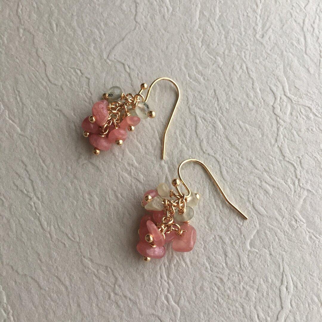 -桜餅- 天然石のピアス