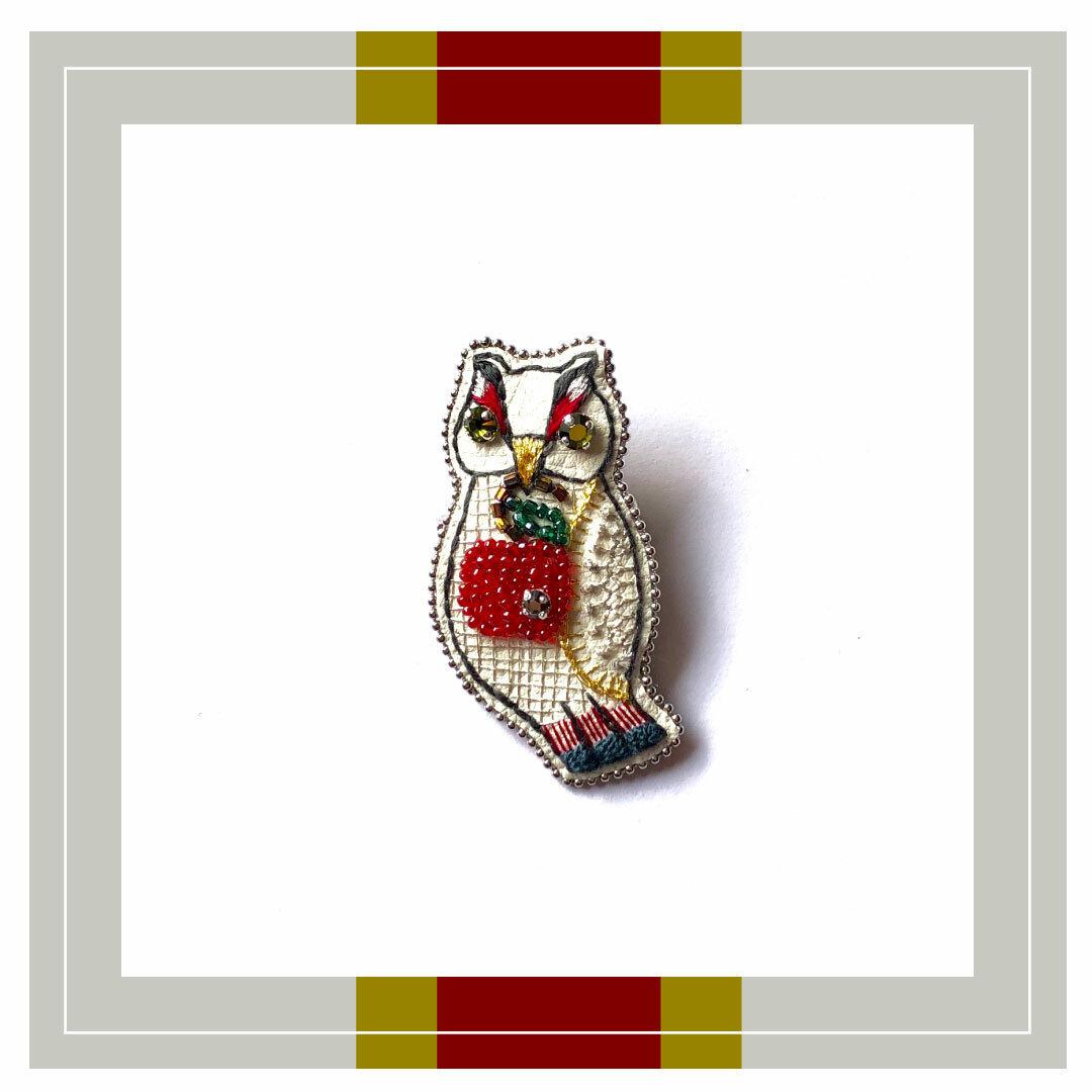 ◇ポムとフクロウ刺繍ブローチ◇classic series