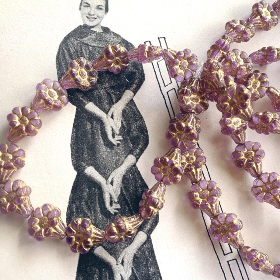 【10コセット】JIRI*IVANA#czech beads #チェコビーズflower13✖️11㎜ daydream light purple/bronze