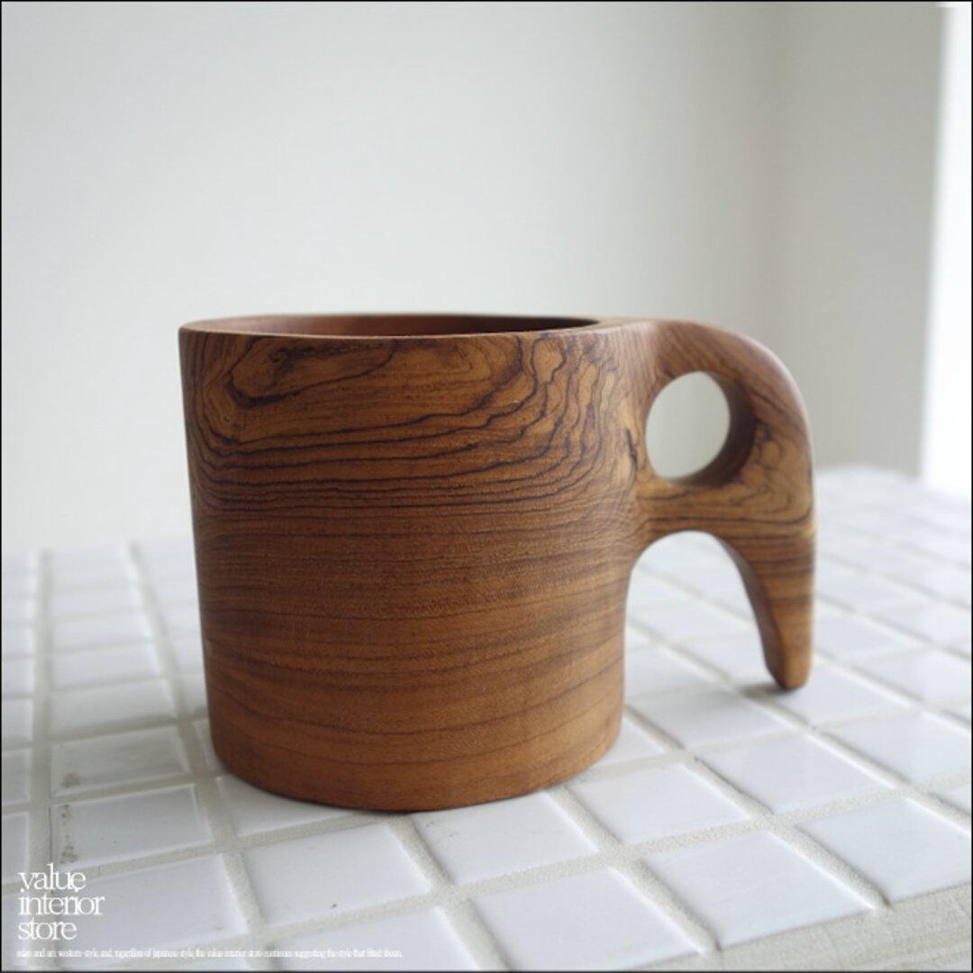 チークカップZou コーヒーカップ マグカップ 木製カップ 木のコップ ティーカップ 木製食器 新品 ナチュラル 手作り 無垢材 世界三大銘木