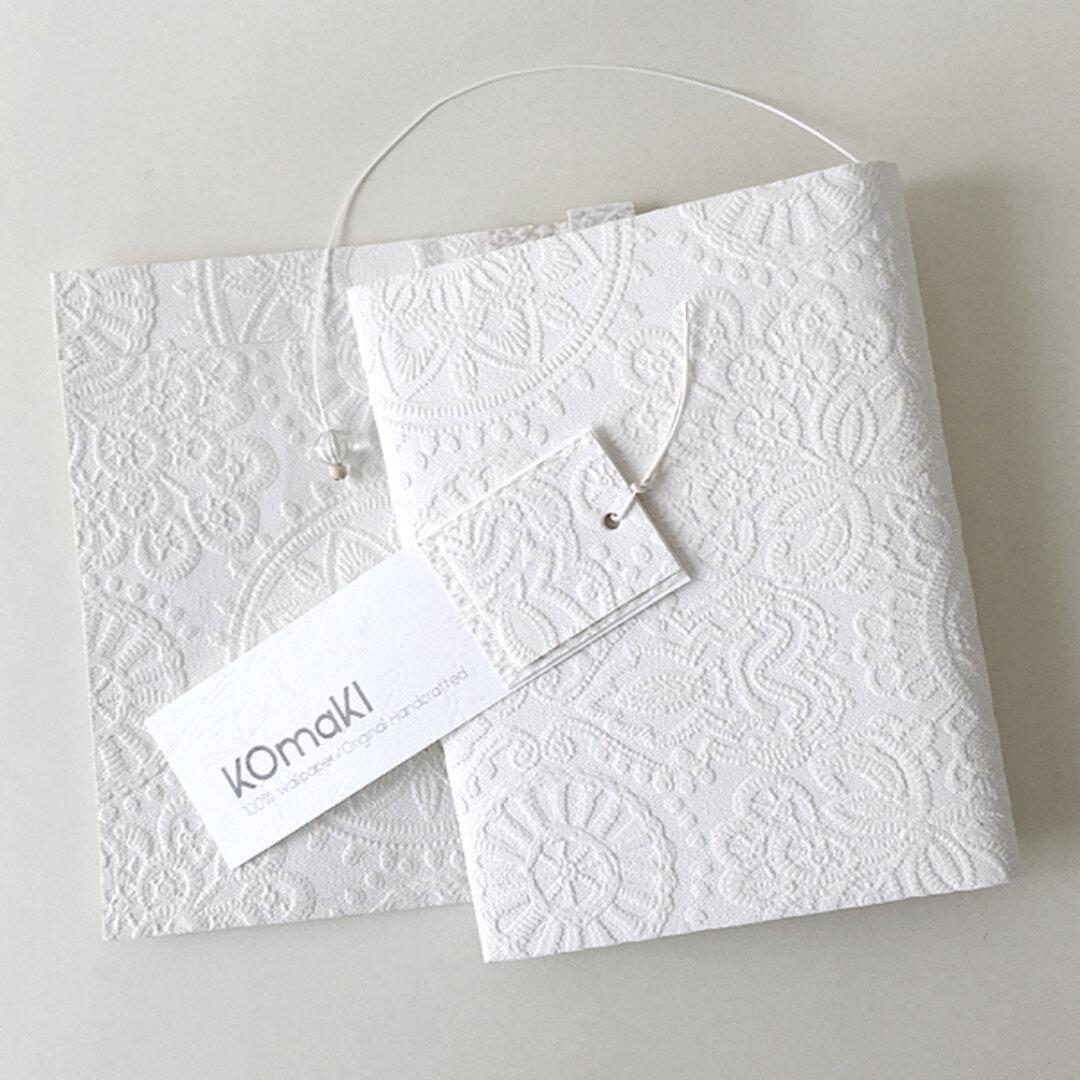ホワイトレース クラフトブックカバー BOOK COVER WHITE LACE /  文庫本/新書判/四六判/B6判/A5判/手帳/ノートカバー/オーダーサイズ